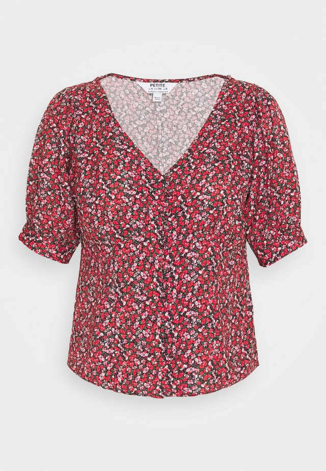 PETITE DITSY BUTTON THROUGH TOP - Blouse - red