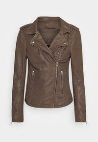 JACKET - Leather jacket - dusty taupe