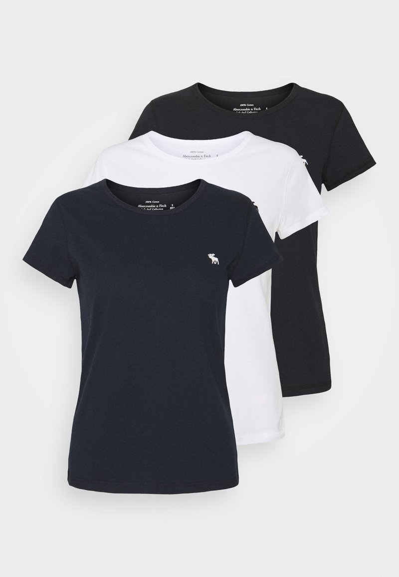 Abercrombie & Fitch - CREW 3 PACK - Basic T-shirt - black/ white/ navy