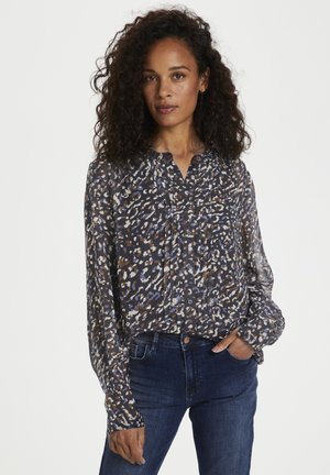 Button-down blouse - abstract leo print, navy