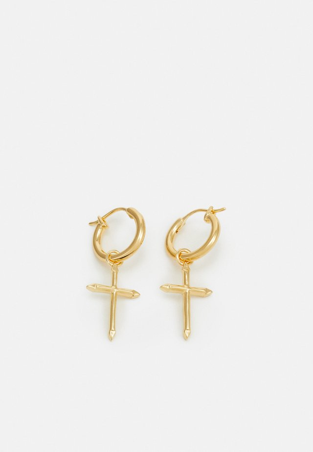 CROSS HOOP EARRINGS - Kolczyki - gold-coloured