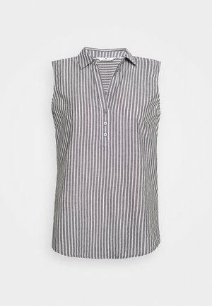 BLOUSE STRIPED - Bluse - black