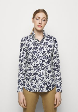 PRINTED OXFORD - Button-down blouse - navy/cream