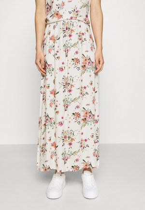 VIBILLY LONG FLOWER SKIRT - Maxi skirt - cloud dancer/red