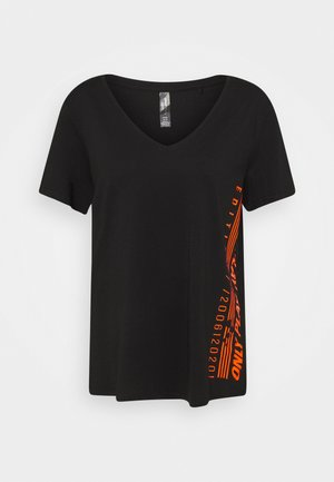 ONPALIDA LIFE V-NECK TEE - T-shirt con stampa - black/fiery coral