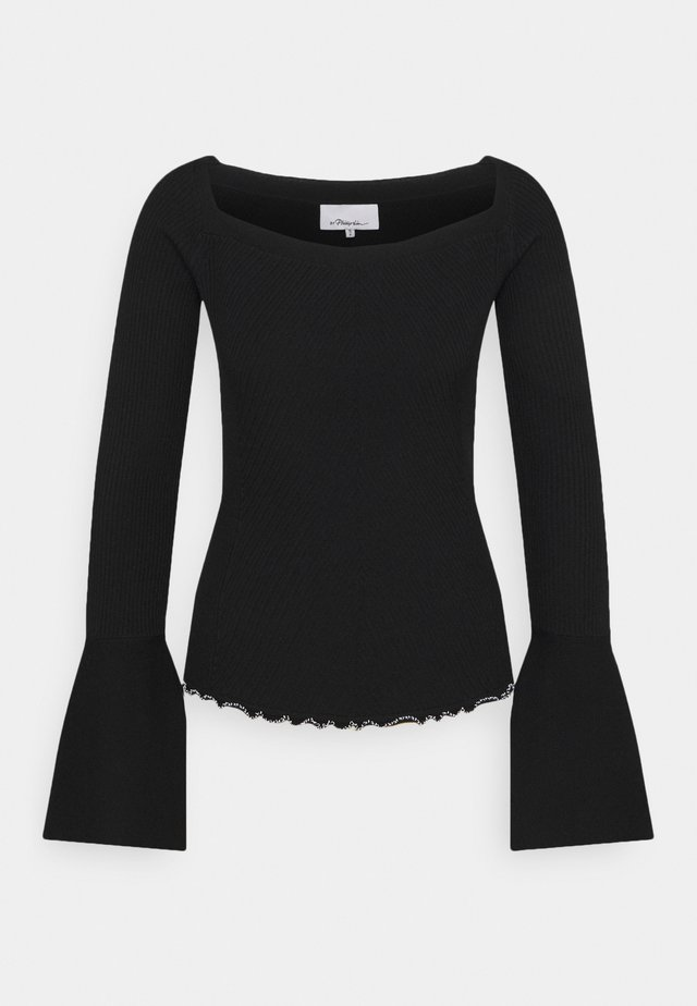 OPEN NECK SWEATER - Strickpullover - black
