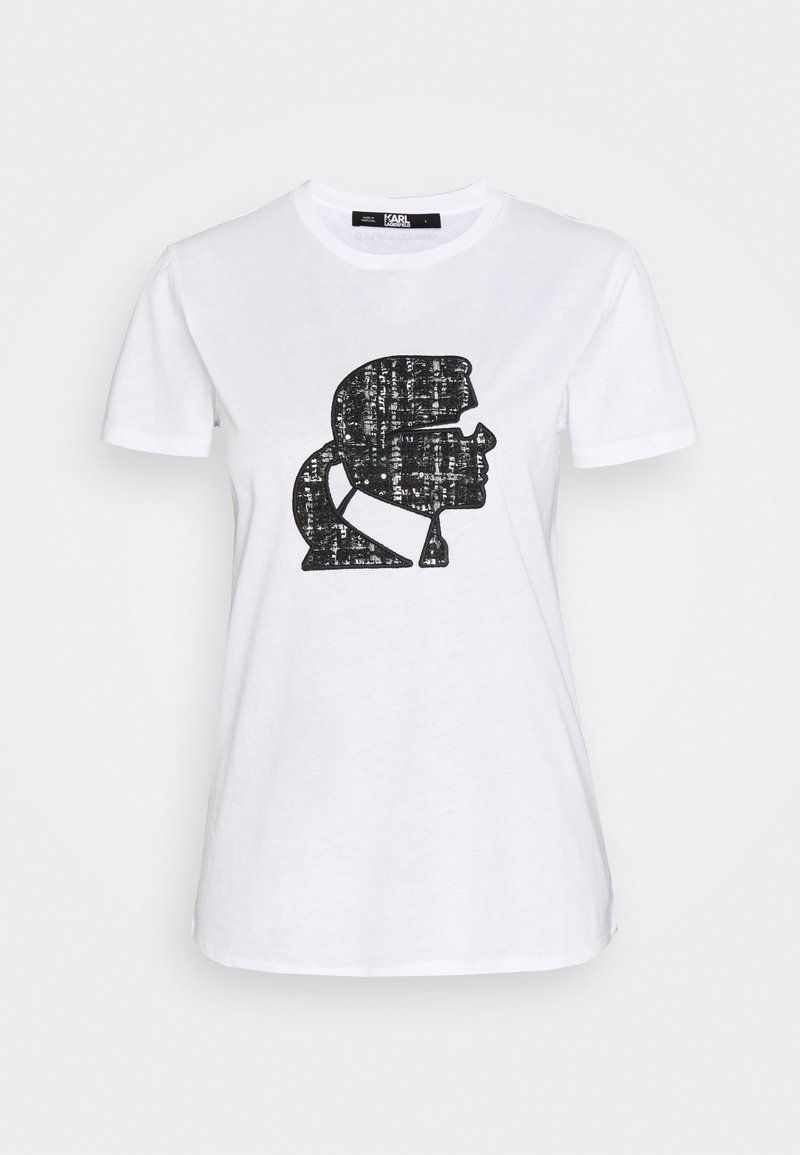 KARL LAGERFELD - BOUCLE KARL PROFILE  - T-shirt z nadrukiem -  white