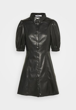 PUFF SLEEVE DRESS - Košilové šaty - black