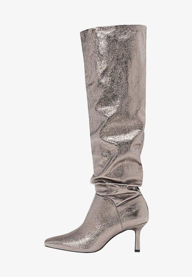 Stivali alti - metallic grey