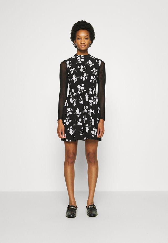 FLORAL DRESS - Day dress - black