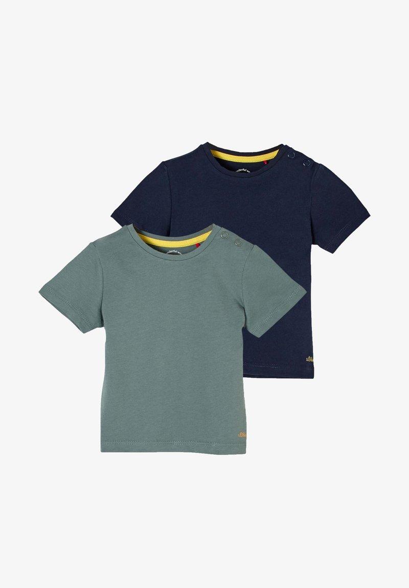 s.Oliver - 2 PACK - Print T-shirt - petrol/dark blue