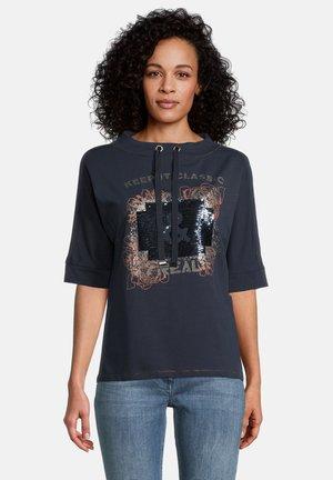 Print T-shirt - dark blue/brown