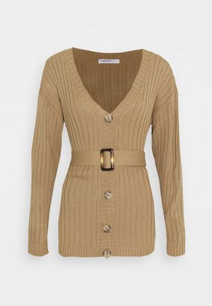 BELTED CARDIGAN - Strickjacke - light brown