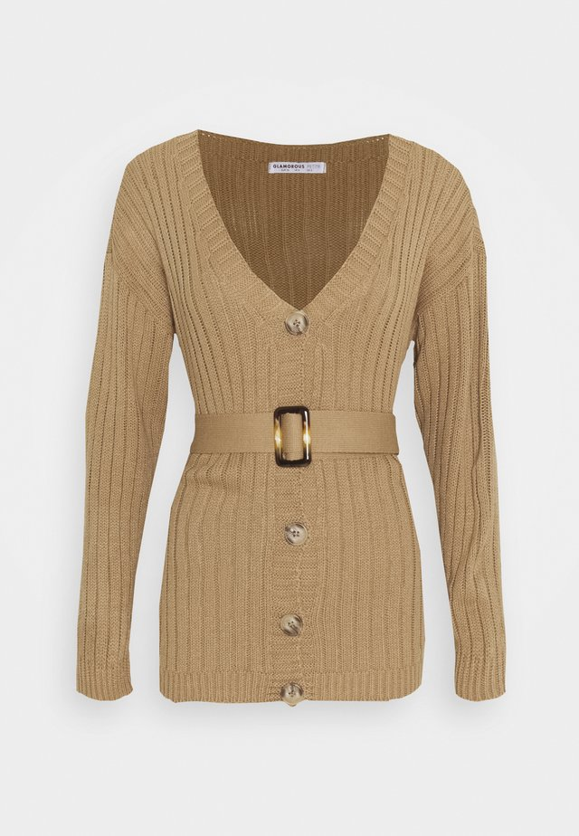 BELTED CARDIGAN - Kardigan - light brown