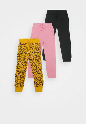 3 PACK - Tracksuit bottoms - black/pink