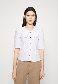 Monki - SANDRA BLOUSE - Button-down blouse - white - 0