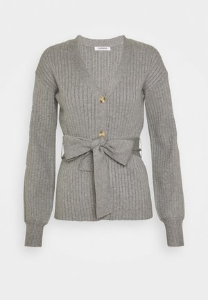 SLOUCHY CARDIGAN WITH BELT - Cardigan - grey