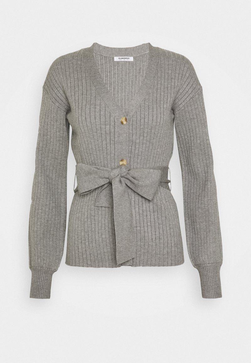Glamorous - SLOUCHY CARDIGAN WITH BELT - Kardigan - grey