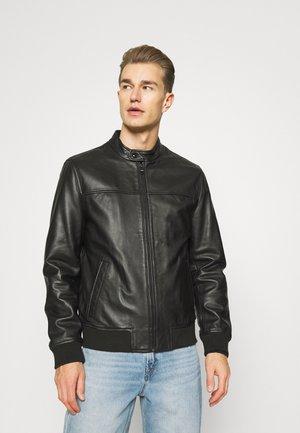 HARRINGTON - Leather jacket - black