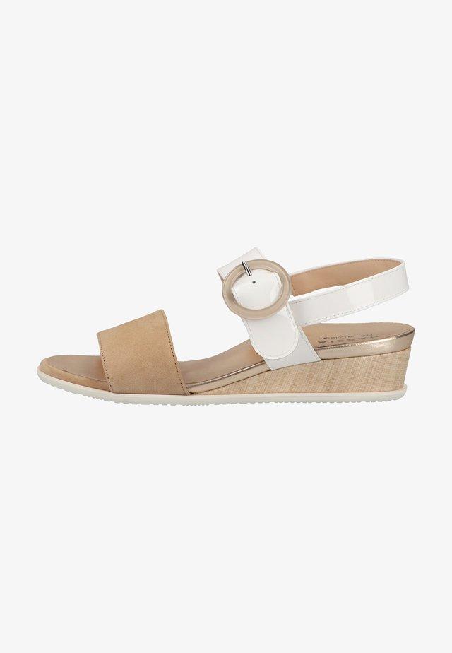 Sandalen met sleehak - weiss