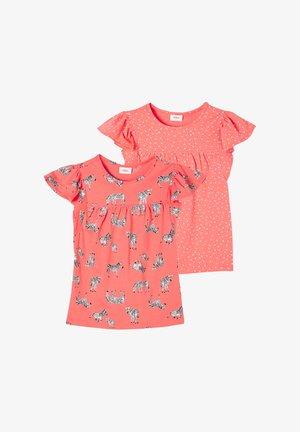 Print T-shirt - coral aop/coral dots