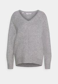 Selected Femme - V NECK - Strickpullover - light grey melange - 3