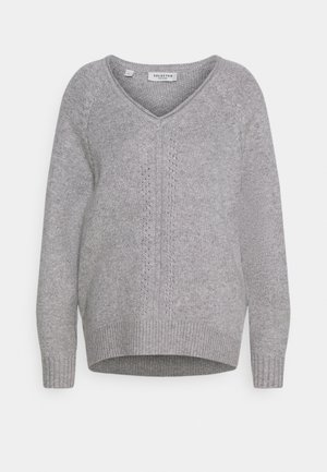 V NECK - Trui - light grey melange