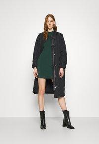 Even&Odd - Mini high neck long sleeves bodycon dress - Shift dress - dark green - 1