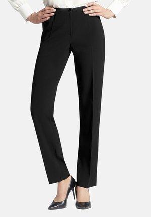 IN UNI-DESIGN MIT BÜGELFALTEN - Trousers - schwarz