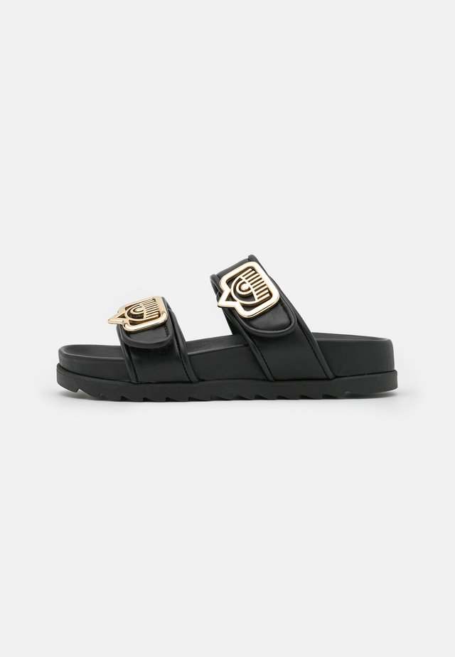 DOUBLE STRAP FOOTBED - Mules - black