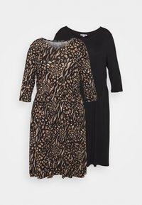 CAPSULE by Simply Be - MIDI 3/4 SLEEVE SMOCK DRESSES 2 PACK - Jersey dress - black - 4