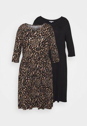 MIDI 3/4 SLEEVE SMOCK DRESSES 2 PACK - Jersey dress - black