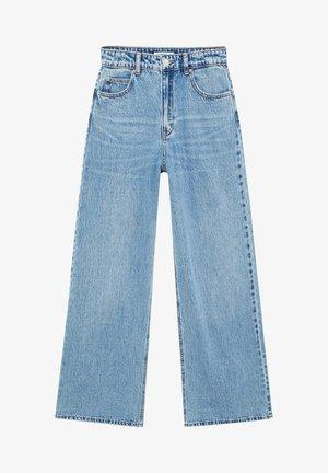 MIT HOHEM BUND - Flared Jeans - dark blue denim