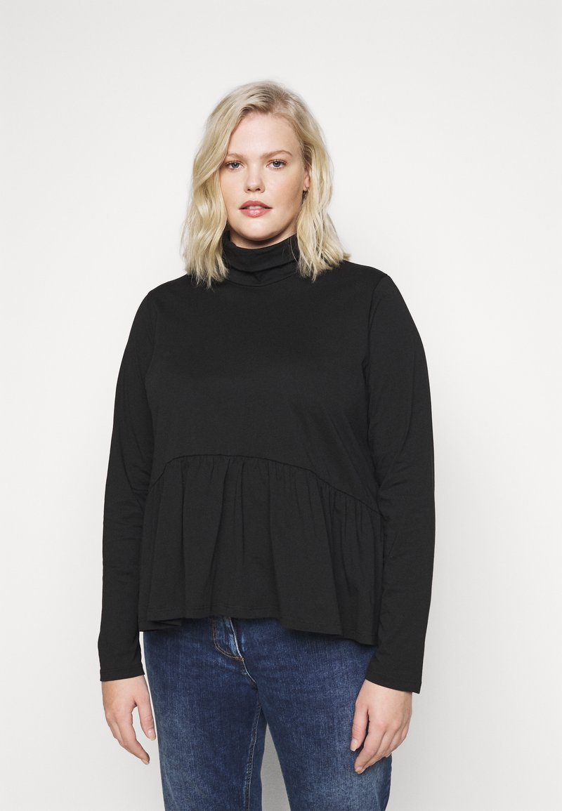 Pieces Curve - PCSERENE ROLL NECK - Long sleeved top - black