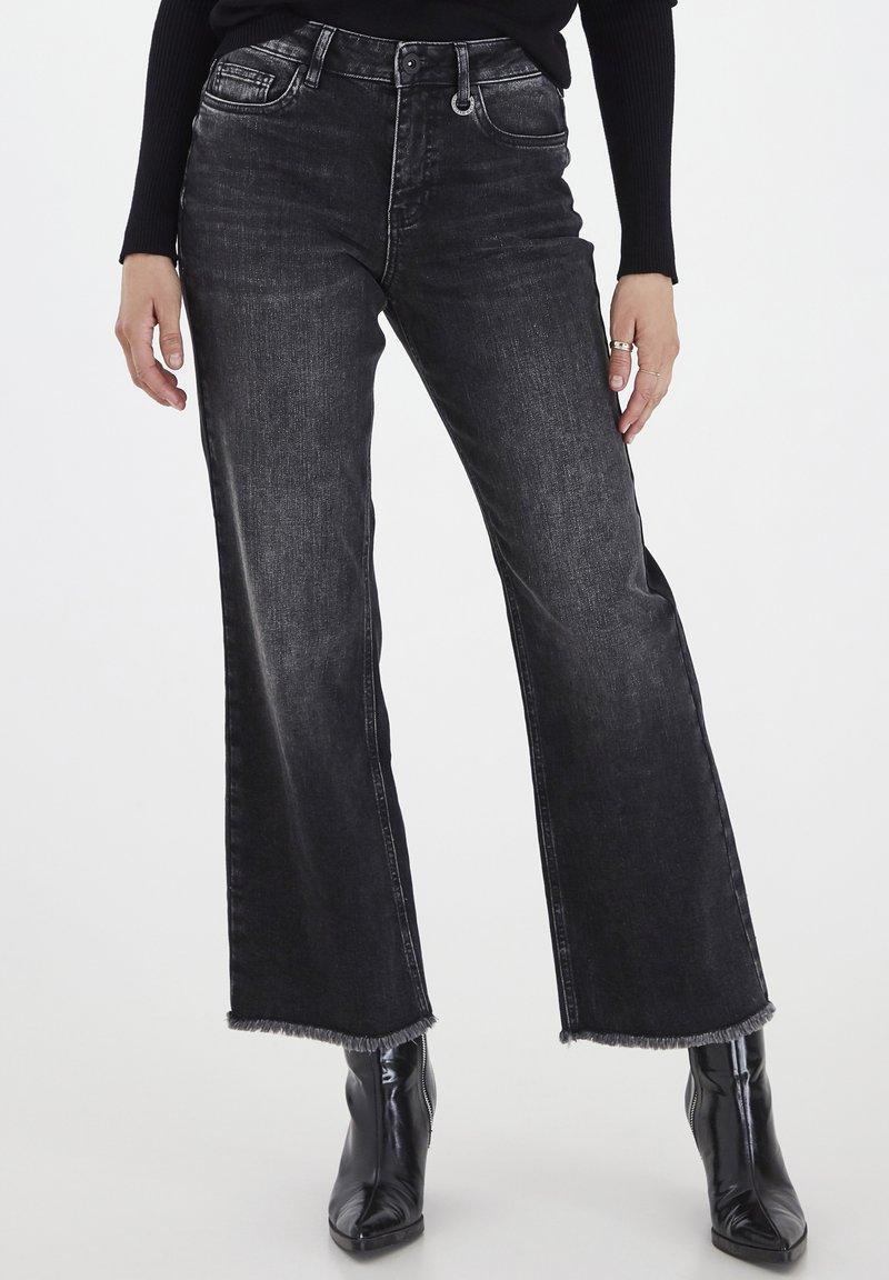 PULZ - PZLIVA  - Flared Jeans - black denim