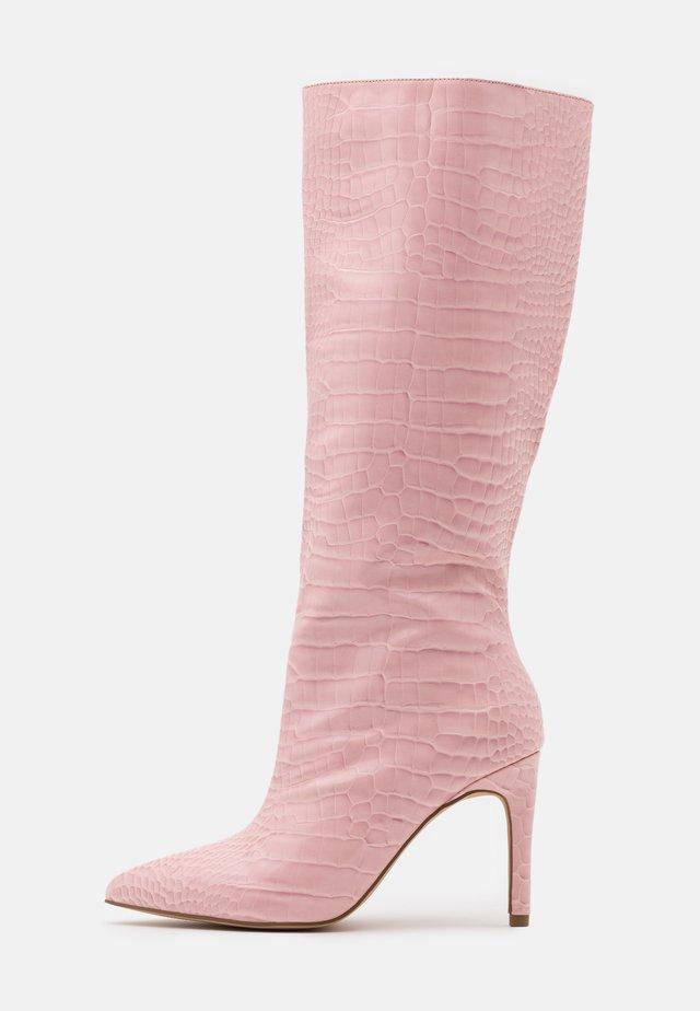CROC MID STILETOE TUBULAR BOOTS - High heeled boots - pink