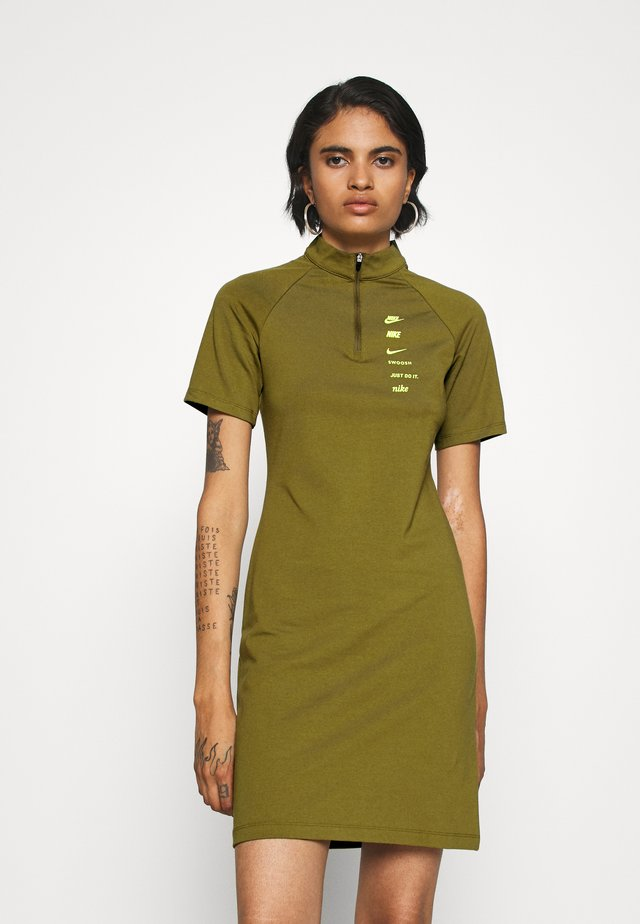DRESS - Jerseykleid - olive flak/volt