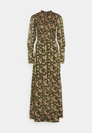 SHEER MAXI DRESS WITH ALL OVER PRINT - Maxi dress - green