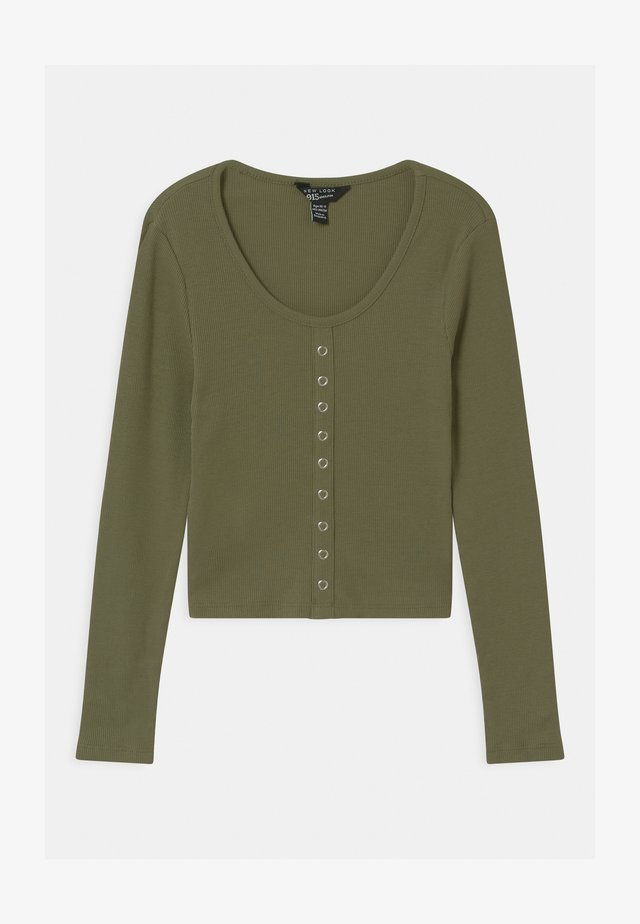 POPPER FRONT - Long sleeved top - khaki