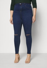 Missguided Plus - LAWLESS HIGHWAISTED SUPERSOFT ANKLE ZIP - Jeans Skinny Fit - deep blue - 0