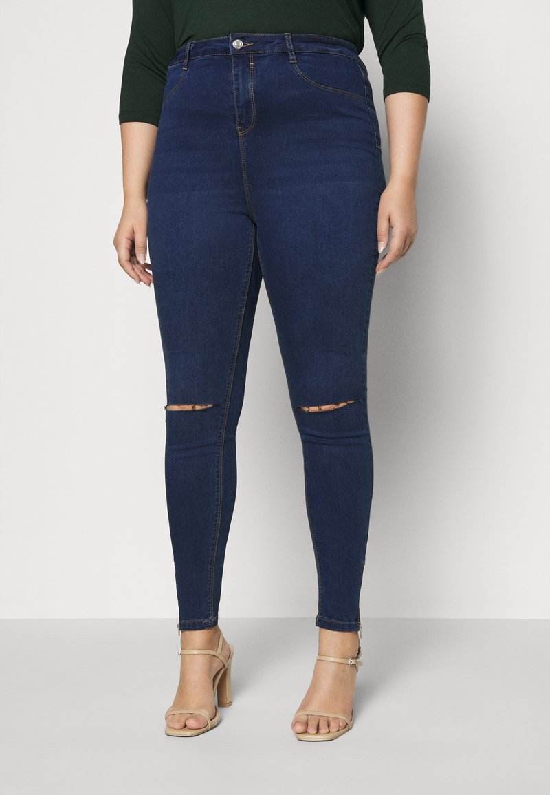 Missguided Plus - LAWLESS HIGHWAISTED SUPERSOFT ANKLE ZIP - Jeans Skinny Fit - deep blue
