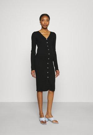 BUTTON RIB - Jumper dress - black
