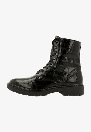 Lace-up ankle boots - croco black