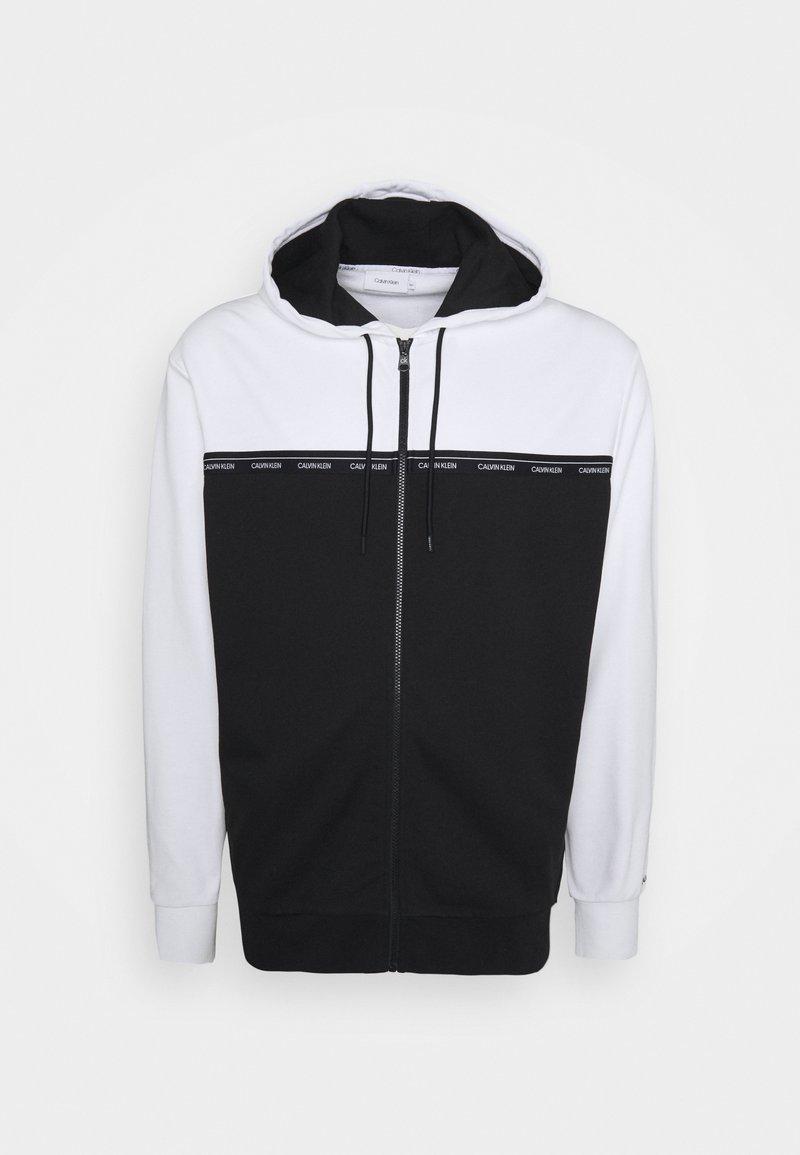 Calvin Klein - LOGO STRIPE ZIP HOODIE - Sweater met rits - colorblock bright white/black