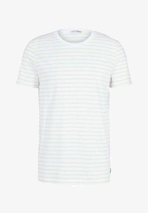 Print T-shirt - almond white thin stripe
