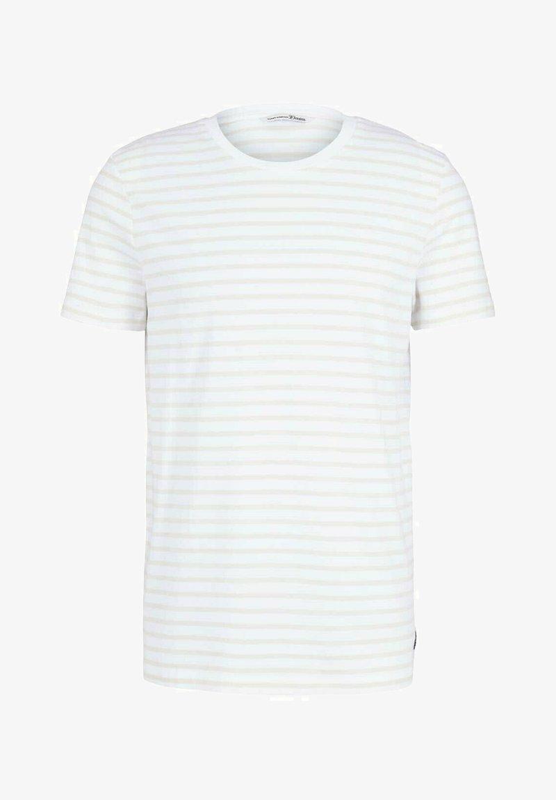 TOM TAILOR DENIM - Print T-shirt - almond white thin stripe