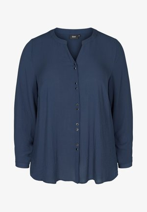MIT V-AUSSCHNITT UND KNÖPFEN - Button-down blouse - blue