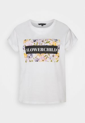 VMVENJAAVA WIDE BOX  - T-shirt print - snow white
