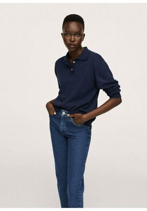 KATOENEN MOM-FIT - Trousers - inktblauw