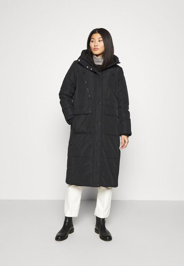 PADDED LONG COAT - Winter coat - deep black